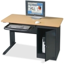 Balt Locking Computer Workstation, 1 Drawers - Steel, Plastic - Teak Top