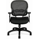 Basyx by HON Mid-back Mesh Task Chair, Fabric Black Seat - Black Frame - 27.6