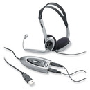 Compucessory Multimedia USB Stereo Headset, Stereo - Black, Silver - Mini-phone - Wired - Over-the-head - Binaural - 6.23 ft Cable