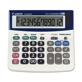 "Canon TX220TS Desktop Calculator, 12 Character(s) - Solar, Battery Powered - 1.2"" x 5.6"" x 5.6"", Price/EA"