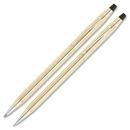 Cross Classic Century Gold Filled Pen/Pencil Set, Medium Pen Point Type - 0.5 mm Pen Point Size - 0.7 mm Lead Size - Gold Ink - Gold Barrel - 2 / Set