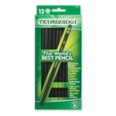 Ticonderoga Pencil, #2 Pencil Grade - Black Lead - Black Barrel - 12 / Dozen