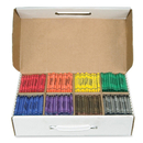 Dixon Master Pack Regular Crayons, Red, Orange, Green, Yellow, Blue, Purple, Brown, Black Wax - Assorted Barrel - 800 / Box