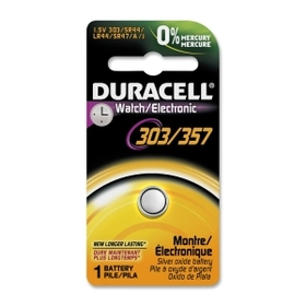 Duracell D303/357PK Silver Oxide Button Cell General Purpose Battery, Silver Oxide - 1.5V DC, Price/EA