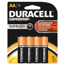 Duracell Alkaline General Purpose Battery, AA - Alkaline - 1.5 V DC, DURMN1500B4Z