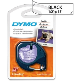 """Dymo LetraTag 16952 Printer Tape Cassette, 0.50"""" Width x 13 ft Length - 1 Each - Plastic - Direct Thermal - Clear, Price/EA"""