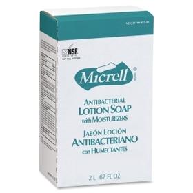 Micrell NXT Maximum Capacity Antibacterial Lotion Soap Refill, 67.6 fl oz (2 L) - Anti-bacterial, Antimicrobial - Amber - 1 Each, Price/EA