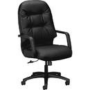 HON Pillow-Soft 2091 Executive High-Back Chair, Black - Leather Black Seat - Steel Black Frame - 26.3