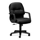 HON Pillow-Soft 2092 Managerial Mid Back Chair, Leather Black Seat - Black Frame - 26.3