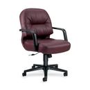 HON Pillow-Soft 2092 Mid-Back Chair, Leather Burgundy, Foam Seat - Black Frame - 26.3