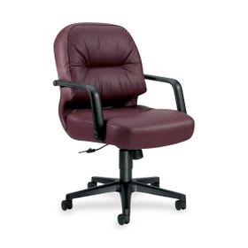 "HON Pillow-Soft 2092 Mid-Back Chair, Black Frame26"" x 29"" x 42"" - Leather Burgundy, Foam Seat, Price/EA"