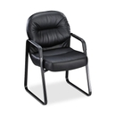 HON Pillow-Soft 2093 Executive Sled Based Guest Chair, Leather Black Seat - Black Frame - 23.3