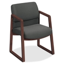 HON 2403 Sled Base Guest Arm Chair, Fabric Gray Seat - Upholstery Back - Hardwood Mahogany Frame - 24