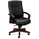 HON Park Avenue High-back Executive Chair, Black - Leather Black Seat - Hardwood Mahogany Frame - 26