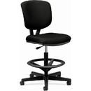 HON Volt Adjustable Height Stool, Black - Fabric Black Seat - Fabric Black, Plastic Back - 27