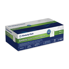 Kimberly-Clark Synthetic Powder-Free Exam Gloves, Small Size - Latex-free, Powder-free - Synthetic, Vinyl - 100 / Box - Clear, Price/BX