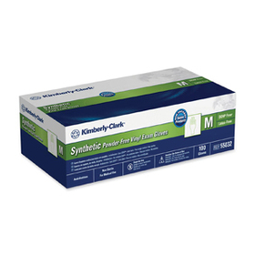 Kimberly-Clark KIM55032 Kimberly-Clark Synthetic Powder-Free Exam Gloves, Medium Size - Latex-free, Powder-free - Synthetic, Vinyl - 100 / Box - Clear, Price/BX