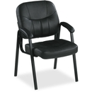 Lorell Chadwick Executive Leather Guest Chair, Leather - Leather Black Seat - Steel Black Frame - 26