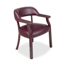 Lorell Traditional Captain Side Chair, Wood - Oxblood - Vinyl Burgundy Seat - Hardwood Frame - 24