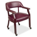 Lorell Traditional Captain Side Chair With Casters, Oxblood - Vinyl Burgundy Seat - Hardwood Frame - 24