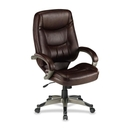 Lorell Westlake Series High Back Executive Chair, Leather Saddle Seat - Polyurethane Black Frame - 26.5