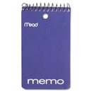 Mead Coil Memo Notebook, 60 Sheet - 15 lb - College Ruled - 3