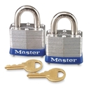 Master Lock High Security Keyed Padlock, Keyed Alike - Steel Body, Steel Shackle - Silver