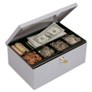 MMF Heavy-gauge Steel Cash Box with Security Lock, Steel - Gray - 4.4