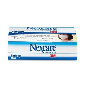 Nexcare MMMH1820 Nexcare Ear Loop Filter Mask, Polypropylene, Polyethylene, Aluminum - 20/ Box - White, Price/BX