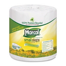Marcal Small Steps Recycled Bath Tissue, 2 Ply - 336 Sheets/Roll - 48 / Carton - White