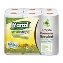 Marcal Small Steps Recycled U-Size-It Roll Paper Towels, 2 Ply - 140 Sheets/Roll - 6 / Pack - White