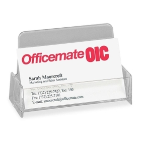 "OIC OIC97832 OIC Broad Base Business Card Holder, 1.9"" x 3.9"" x 2.4"" - Plastic - 1 Each - Clear, Price/EA"