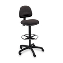Safco Precision Extended Height Chair with Footring, Black - Polyester Black, Olefin Seat - Black Frame - 25