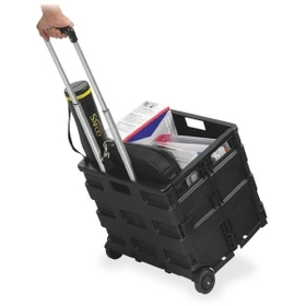 "Safco Stow Away Folding Caddy, Telescopic Handle - 50 lb Capacity - 216.5"" x 3.5"" x 18"" - Black, Price/EA"