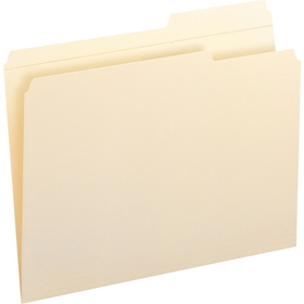"Smead Straight-Line Recycled File Folder, Letter - 8.5"" x 11"" - 2/5 Tab Cut on Right - 0.75"" Expansion - 100 / Box - 11pt. - Manila, Price/BX"