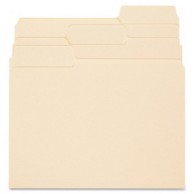 "Smead SuperTab Two-Ply Folder, Letter - 8.5"" x 11"" - 1/3 Tab Cut - 0.75"" Expansion - 100 / Box - 11pt. - Manila, Price/BX"