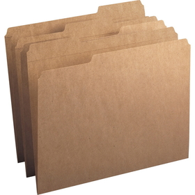 "Smead Kraft File Folder, Letter - 8.5"" x 11"" - 1/3 Tab Cut on Assorted Position - 0.75"" Expansion - 100 / Box - 11pt. - Kraft, Price/BX"