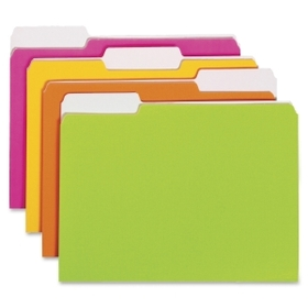 "Smead Neon Colored Folder, Letter - 8.5"" x 11"" - 1/3 Tab Cut - 0.75"" Expansion - 12 / Pack - 11pt. - Neon, Price/PK"