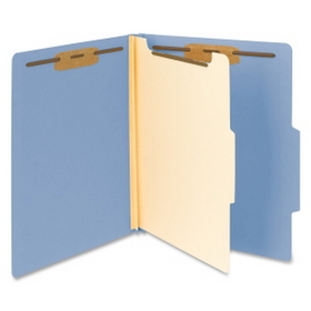 "Smead Top Tab Colored Classification Folder, Letter - 8.5"" x 11"" - 2/5 Tab Cut on Right - 1 Dividers - 2"" Expansion - 2"" Capacity - 10 / Box - 18pt. - Blue, Price/BX"