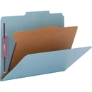Smead 13730 Blue Colored Pressboard Classification Folders with SafeSHIELD Fasteners, Letter - 8.50