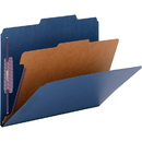 Smead 13732 Dark Blue Colored Pressboard Classification Folders with SafeSHIELD Fasteners, Letter - 8.50