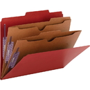Smead 14082 Bright Red Pressboard Classification Folders with Pocket-Style Dividers and SafeSHIELD Fasteners, Letter - 8.50
