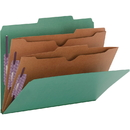 Smead 14083 Green Pressboard Classification Folders with Pocket-Style Dividers and SafeSHIELD Fasteners, Letter - 8.50