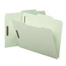 Smead 14980 Gray/Green Pressboard Fastener File Folders with SafeSHIELD Fasteners, Letter - 8.50