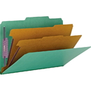 Smead 19033 Green Colored Pressboard Classification Folders with SafeSHIELD Fasteners, Legal - 8.50