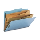 Smead 19081 Blue Pressboard Classification Folders with Pocket-Style Dividers and SafeSHIELD Fasteners, Legal - 8.50
