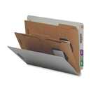 Smead 26710 Gray/Green End Tab Classification Folders with Pocket-Style Dividers and SafeSHIELD Fasteners, 9.50