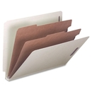 Smead 26810 Gray/Green End Tab Pressboard Classification Folders with SafeSHIELD Fasteners, Letter - 8.50