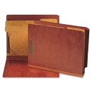 Smead 26860 Red End Tab Pressboard Classification Folders with SafeSHIELD Fasteners