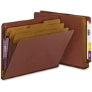 Smead 26865 Red End Tab Pressboard Classification Folders with SafeSHIELD Fasteners, Letter - 8.50